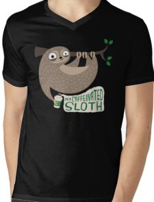 Caffeinated Sloth Mens V-Neck T-Shirt