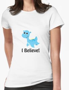I Believe! Cute Blue Nessie Womens Fitted T-Shirt