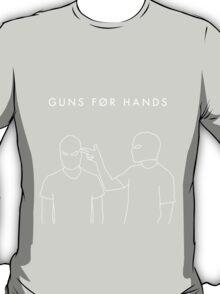 "twenty øne piløts - ""guns for hands"" minimalist typography + line art (black) T-Shirt"