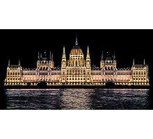Hungarian Parliament at Night Photographic Print