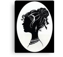 Vintage Fashion Silhouette, Old Fashioned Vanity , Beauty black white Canvas Print