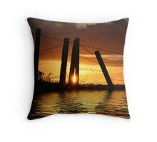 sunset,fance,landscape,reflection Throw Pillow