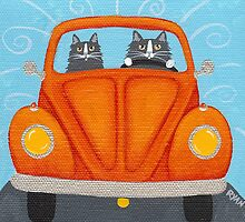 Father & Son Cat in VW Bug by Ryan Conners