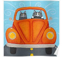 Father & Son Cat in VW Bug Poster