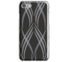 Black and Grey Abstract Ribbon Curls Pattern iPhone Case/Skin