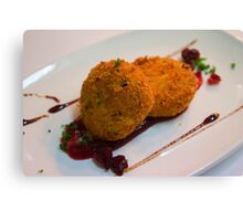Fried Goats Cheese With Cranberry Sauce Canvas Print