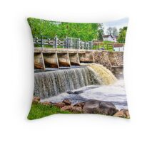 Dam on Crawfish River Throw Pillow