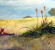 Fox and the Red Hot Pokers by Pieter  Zaadstra
