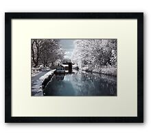 Canal Boat in Infrared Framed Print