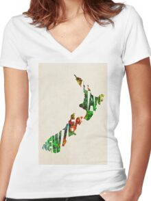 New Zealand Typographic Watercolor Map Women's Fitted V-Neck T-Shirt
