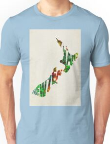 New Zealand Typographic Watercolor Map Unisex T-Shirt