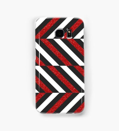 Modern gray white red faux glitter zigzag Samsung Galaxy Case/Skin