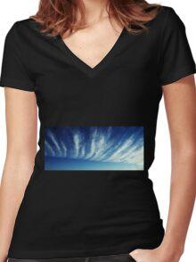 Blue Sky Women's Fitted V-Neck T-Shirt