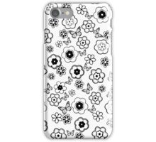 Cute black white butterfly abstract flowers iPhone Case/Skin