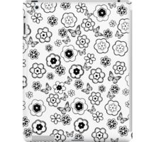 Cute black white butterfly abstract flowers iPad Case/Skin