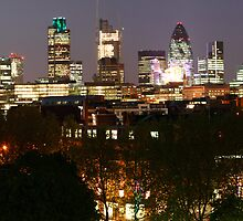 Night-time City of London Skyline Panorama by John Gaffen