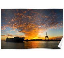Port Ship Silhouette - Fremantle Poster