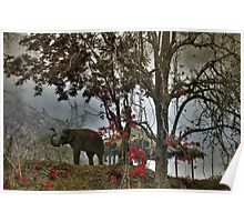 Elephants in north Thailand Poster