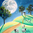 SHEEP MOON FOLK PAINTING by gordonbruce