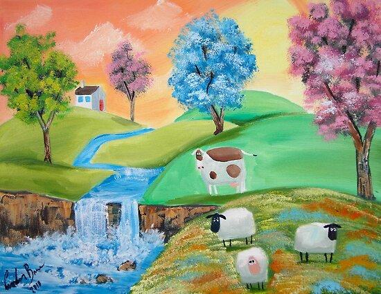 CUTE COWS SHEEP FOLK PAINTING by gordonbruce