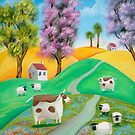 SHEEP COW FOLK PAINTING by gordonbruce