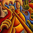 Fiddle player by river with boat by Alan Kenny