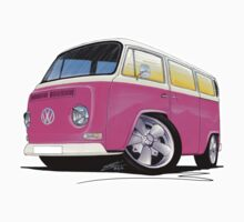 VW Bay Window Camper Van A Pink by Richard Yeomans