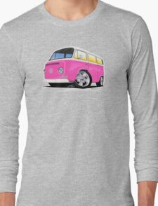 VW Bay Window Camper Van A Pink Long Sleeve T-Shirt