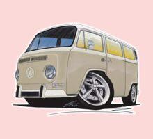 VW Bay Window Camper Van B Cream One Piece - Short Sleeve