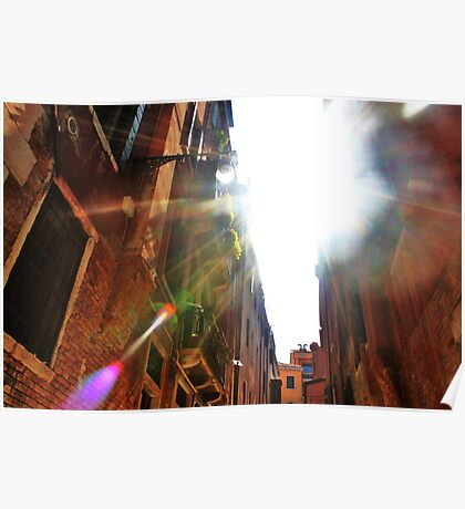 light flare through the buildings Poster