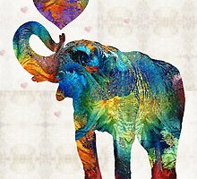 Colorful Elephant Art - Elovephant - By Sharon Cummings by Sharon Cummings