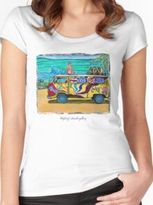 Surf Art /peace & love Women's Fitted Scoop T-Shirt