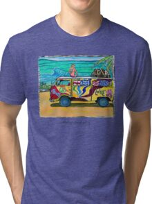 Surf Art /peace & love Tri-blend T-Shirt