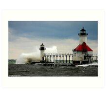 waves hitting lighthouse Art Print