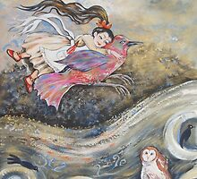 Flying girl with Bird Watched by the Owl by Deborah Conroy