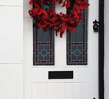 Red Wreath, White Door by Heidi Stewart