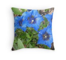 Bubbly Blue Flowers Throw Pillow