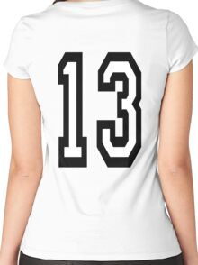 13, TEAM SPORTS, NUMBER 13, THIRTEEN, THIRTEENTH, ONE, THREE, Competition, Unlucky, Luck Women's Fitted Scoop T-Shirt