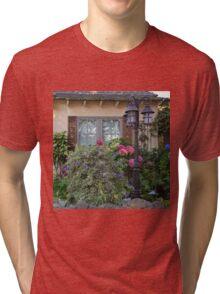 Window and Pink Hydrangea Flowers Tri-blend T-Shirt