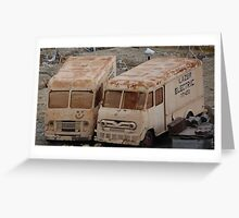 two old trucks find love. Greeting Card