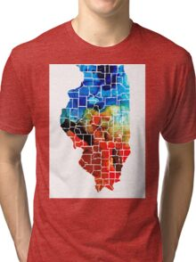 Illinois - Map Counties By Sharon Cummings Tri-blend T-Shirt