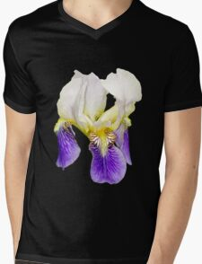 Purple Iris on Black Background Mens V-Neck T-Shirt