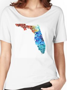 Florida - Map By Counties Sharon Cummings Art Women's Relaxed Fit T-Shirt