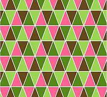 Watermelon Colors Geometric Triangle Pattern by destei