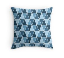 Sea Blue Geometric Triangle Pattern Throw Pillow