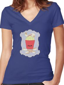 Fries Before Guys. Women's Fitted V-Neck T-Shirt