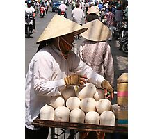 Saigon coconut seller Photographic Print