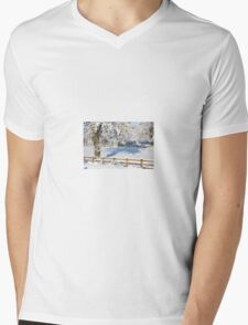 Snowy Scene Mens V-Neck T-Shirt