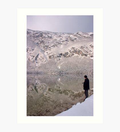 Wintery reflections of Bohinj Art Print