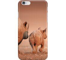 Black Rhino cow and calf iPhone Case/Skin